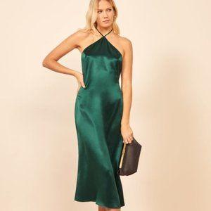Reformation Reggie Emerald Green Slip Midi Dress